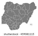 nigeria provinces map grey   Shutterstock .eps vector #459081115