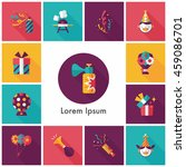 celebration and birthday icons... | Shutterstock .eps vector #459086701