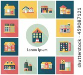 building and store icons set | Shutterstock .eps vector #459087121