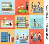set of shopping concepts... | Shutterstock .eps vector #459087997