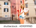 young woman traveling with... | Shutterstock . vector #459099985