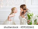 mother and daughter sitting on... | Shutterstock . vector #459102661