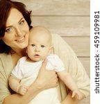 portrait of happy mother and... | Shutterstock . vector #459109981