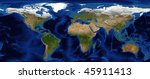 world map with bathymetry and...