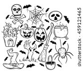 halloween collection icons with ... | Shutterstock .eps vector #459121465