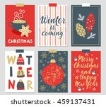set of six christmas greeting... | Shutterstock .eps vector #459137431