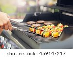 closeup of grilled shashliks on ... | Shutterstock . vector #459147217