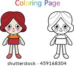color page for children  doll   | Shutterstock .eps vector #459168304