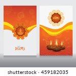 diwali card design template set   Shutterstock .eps vector #459182035