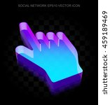 Social Network Icon  3d Neon...