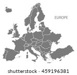 europe with countries map grey | Shutterstock .eps vector #459196381