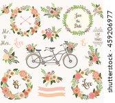 vintage wedding floral... | Shutterstock .eps vector #459206977