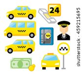 taxi service icon set with... | Shutterstock .eps vector #459215695