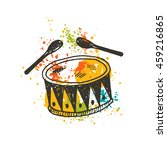 drum on the watercolor splash.... | Shutterstock .eps vector #459216865