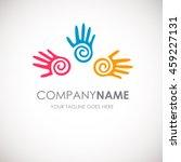 three hands vector logo... | Shutterstock .eps vector #459227131