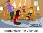 indian people celebrating happy ... | Shutterstock .eps vector #459234901
