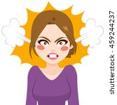 young angry woman with steam... | Shutterstock .eps vector #459244237