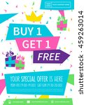 promotion banner buy 1 get 1... | Shutterstock .eps vector #459263014