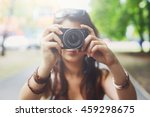 young asian girl taking photo... | Shutterstock . vector #459298675