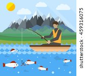 fishing flat creative concept... | Shutterstock .eps vector #459316075