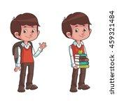 cute cartoon schoolboy with... | Shutterstock .eps vector #459321484