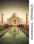 vintage image of taj mahal at... | Shutterstock . vector #459333625