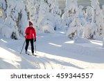 woman cross country skiing in...   Shutterstock . vector #459344557
