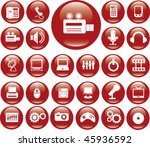 red media buttons. vector | Shutterstock .eps vector #45936592