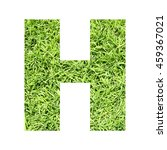 Small photo of The outline of English capital letter 'H' isolated on white background and filled in with actual photo of green grass lawn with applicable clipping or working path for design project