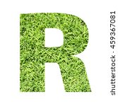 Small photo of The outline of English capital letter 'R' isolated on white background and filled in with actual photo of green grass lawn with applicable clipping or working path for design project