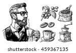 Stock vector hipster holding a cup of hot coffee sack with beans with wooden scoop branch with leaf and berry 459367135