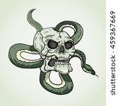 skull and snake tattoo. vector... | Shutterstock .eps vector #459367669