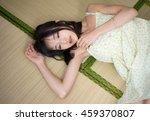 asian girl sleeping on tatami... | Shutterstock . vector #459370807