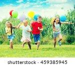 playful boy and girls running... | Shutterstock . vector #459385945