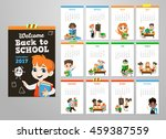 back to school set . pupils... | Shutterstock .eps vector #459387559