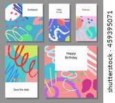 set of artistic colorful... | Shutterstock .eps vector #459395071