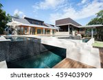 wide image of a modern mansion... | Shutterstock . vector #459403909