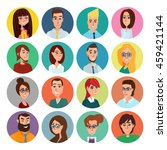 cartoon male and female faces... | Shutterstock .eps vector #459421144