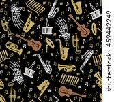 musical instruments seamless... | Shutterstock .eps vector #459442249