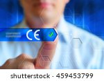 """ce"" button. a man press... 
