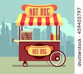 street food vending cart with... | Shutterstock .eps vector #459455797