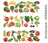 watercolor set with fruits and... | Shutterstock . vector #459466441