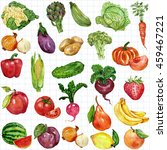 watercolor set with fruits and... | Shutterstock . vector #459467221