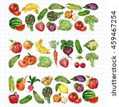 watercolor set with fruits and... | Shutterstock . vector #459467254