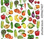 watercolor set with fruits and... | Shutterstock . vector #459467407