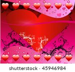 Vector Valentine Background 1 with hearts and scrolls. - stock vector