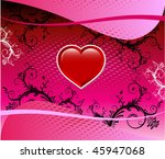 Vector Valentine Background 3 with hearts and scrolls. - stock vector