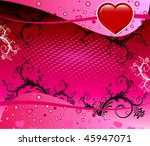 Vector Valentine Background 4 with hearts and scrolls. - stock vector