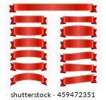 red ribbons set. satin blank... | Shutterstock . vector #459472351