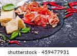 prosciutto with figs and chili...   Shutterstock . vector #459477931